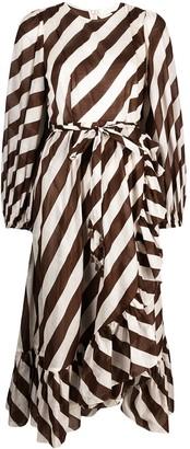 Zimmermann Diagonal Stripe Shirt Dress With Gathered Hem