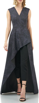 Kay Unger New York Roxane Embroidered Mesh Lace Jumpsuit w/ High-Low Skirt Overlay