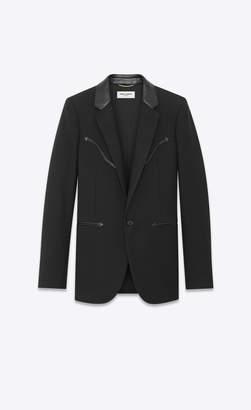 Saint Laurent Blazer Jacket Gabardine Jacket With Western-style Detailing And Leather Collar Black 12