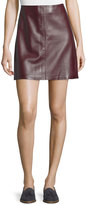 Theory Irenah Wilmore Leather Miniskirt, Garnet