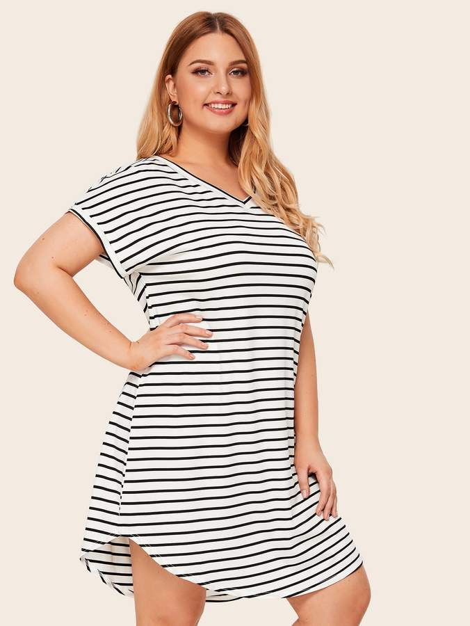 Shein Plus Striped Curved Hem Tee Dress