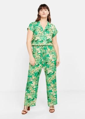 MANGO Violeta BY Tropical print trousers green - S - Plus sizes