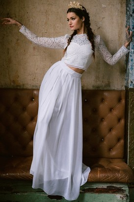 Rock n Roll Bride Athena White Maxi Skirt Co-ord
