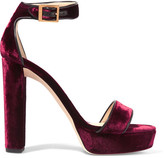 Jimmy Choo Holly Leather-trimmed Velvet Platform Sandals - Burgundy
