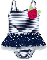 Little Me Infant Girls' Dot & Stripe Skirted One Piece Swimsuit - Baby