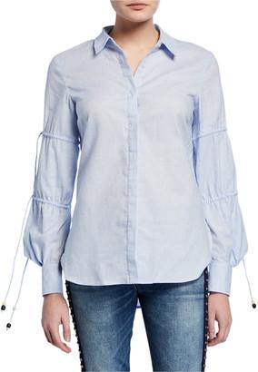 Jonathan Simkhai Ruched-Sleeve Striped Cotton Shirt