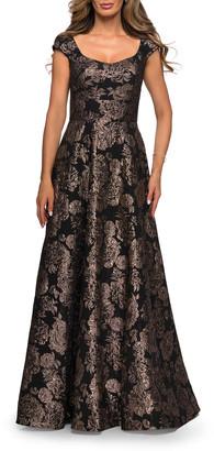 La Femme Floral Jacquard Cap-Sleeve A-Line Gown