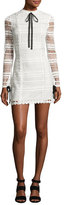 Alexis Braelynn Lace Bow-Neck Mini Dress, White/Black