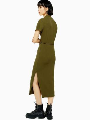 Topshop Chuck On Cut And Sew Midi Dress - Khaki