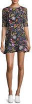 Saloni Celia-C Elbow-Sleeve Printed Mini Dress