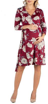 24Seven Comfort Apparel Collared Burgundy Floral Print Maternity Wrap Dress