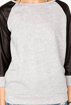 Forever 21 Faux Leather Sleeve Sweatshirt