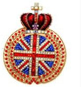 Butler & Wilson Butler and Wilson Large Union Jack with Crown Brooch Gold