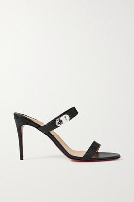 Christian Louboutin Lock Me 85 Embellished Leather Sandals - Black