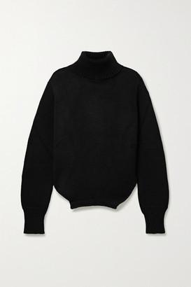 Monse Upside Down Oversized Cutout Merino Wool Turtleneck Sweater - Black