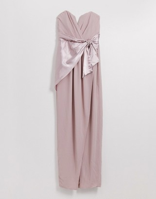 TFNC Bridesmaid bandeau maxi wrap dress with satin front detail in taupe
