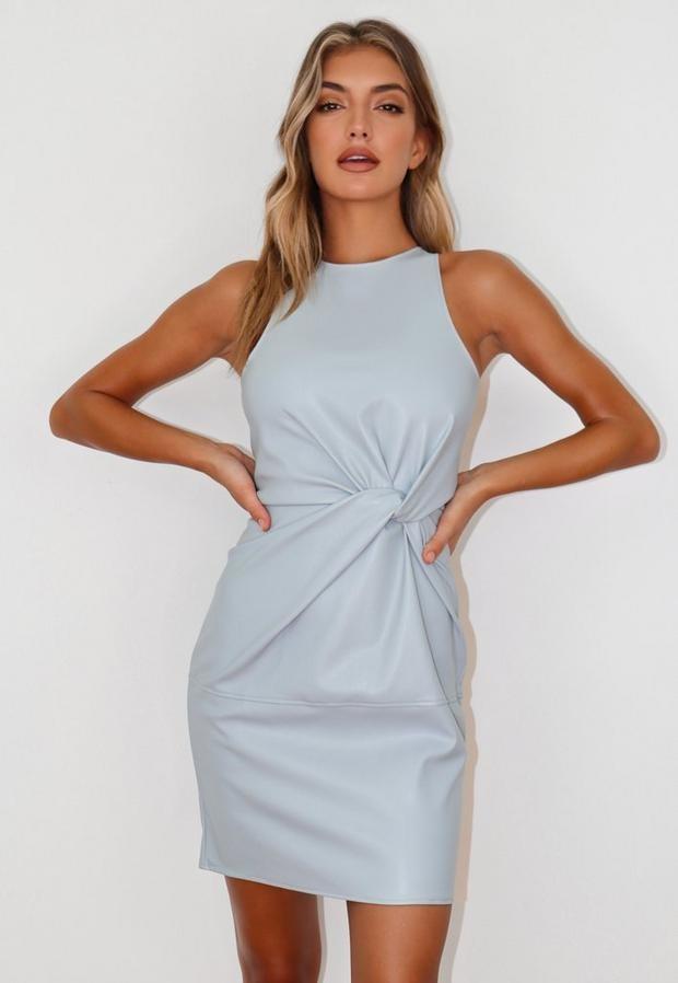 Missguided Blue Faux Leather Twist Front Mini Dress