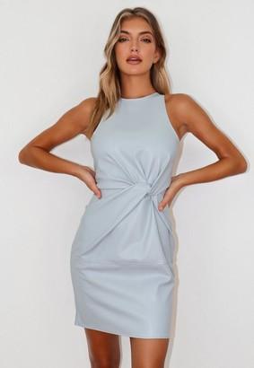 Missguided Faux Leather Twist Front Mini Dress