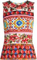 Dolce & Gabbana Carretto-print stretch-silk top