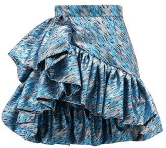 Germanier - Ruffled Brocade Mini Skirt - Blue Silver