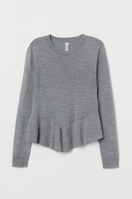 H&M Knit Sweater with Peplum - Gray