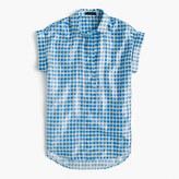 J.Crew Short-sleeve popover shirt in metallic gingham