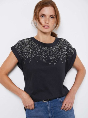 Mint Velvet Studded Leopard T-shirt - Grey