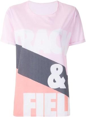 Track & Field logo print striped T-shirt