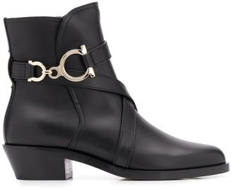 Salvatore Ferragamo Gancini-strap ankle boots