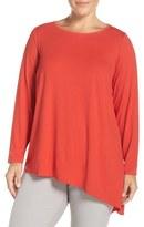 Eileen Fisher Asymmetrical Lightweight Jersey Crewneck Top (Plus Size)