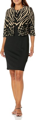 Danny And Nicole Danny & Nicole Women's Petite Two Piece 3/4 Sleeve Jacket and Round Neck 2fer Dress
