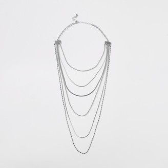 River Island Womens Silver coloured multi layer necklace