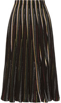ADAM by Adam Lippes Striped Open-knit Cotton-blend Midi Skirt - Black
