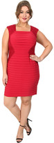 Adrianna Papell Plus Size Lace Blocked Banded Sheath