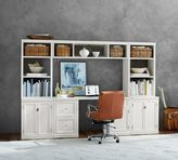 Pottery Barn Logan Small Office Suite with Cabinet Doors & Bridge, Antique White