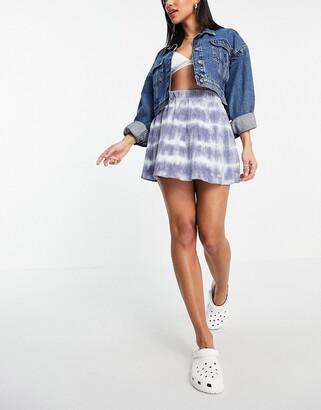 Weekday Shorty organic cotton velour mini skirt in tie dye