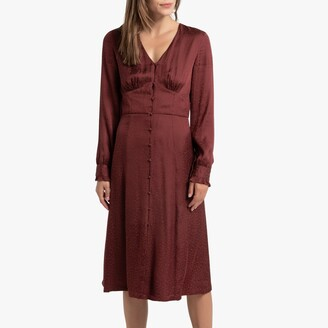 La Redoute Collections Satin Animal Print Midi Dress with Long Sleeves