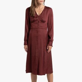 Satin Animal Print Midi Dress with Long Sleeves
