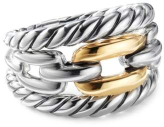 David Yurman Wellesley 18K Yellow Gold & Sterling Silver Chain Ring