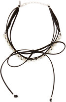 Panacea Pearly Layered Bow Choker Necklace, Black