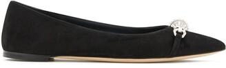 Giuseppe Zanotti Crystal-Embellished Suede Ballerina Shoes