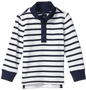 Janie and Jack Long Sleeve Rugby Shirt (Toddler/Little Kids/Big Kids) (Navy Stripe) Boy's Clothing