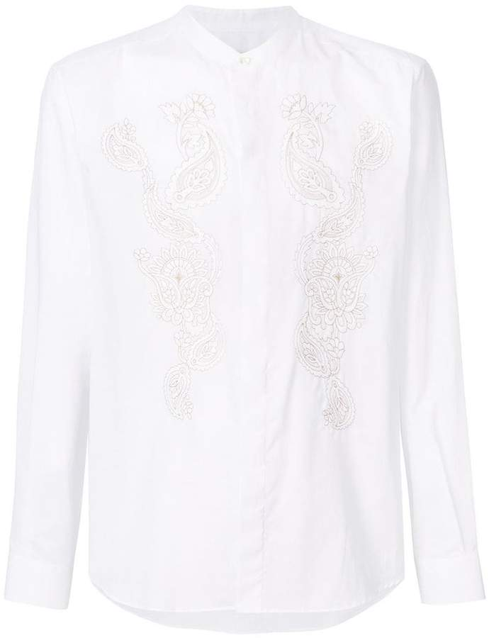 Etro embroidered band collar shirt