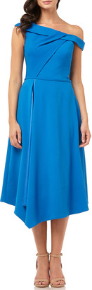 Carmen Marc Valvo One-Shoulder Asymmetric Satin-Lined Midi Crepe Dress
