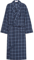 Emma Willis - Checked Brushed-cotton Twill Robe - Blue