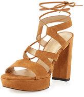 Stuart Weitzman Tiegirlbingo Suede Platform Sandal, Camel
