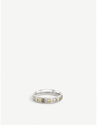 De Beers Women's White Talisman 18ct White-Gold And Diamond Half Pave Band Ring, Size: 50mm