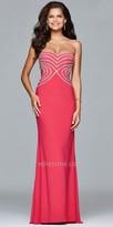Faviana Heart shaped Rhinestone Bodice Prom Dress
