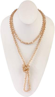 Riah Fashion Long-Knotted Rondelle-Beads-Necklace