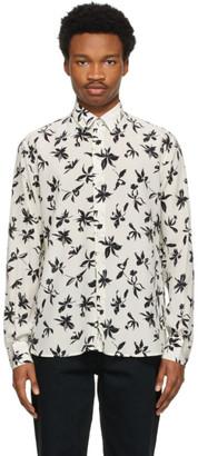 Saint Laurent Off-White and Black Silk Flower Shirt